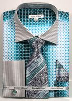 DE Mens Big Size Teal Geo Pattern Dress Shirts Tie Set DS3786P2