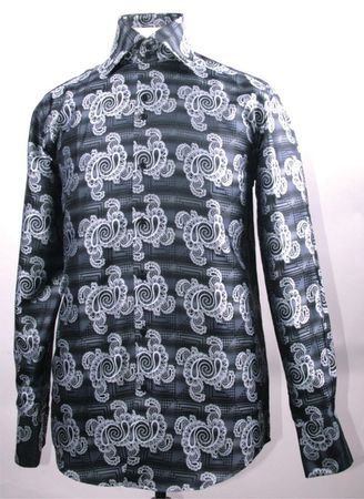 Mens High Collar Shirts DE Black Swirl Pattern FSS1425