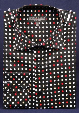 Mens High Collar Shirts DE Black Red  Polka Dot FC7007 - click to enlarge