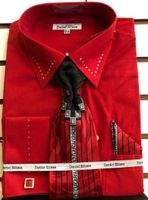 Mens Red French Cuff Tie and Hanky Set Dress Shirt DS3753P2 Size 16.5 34/35  Final Sale