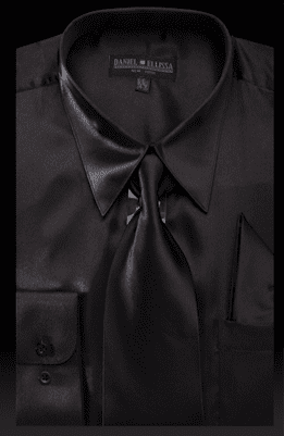 DE Mens Black Silky Dress Shirts for Men 3012