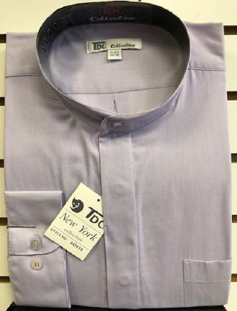 TDC Collection Mens Lavender Mandarin Collar Shirt Size 17.5 34/35
