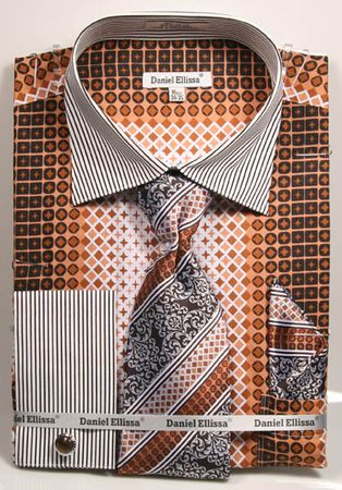 DE Mens Brown French Cuff Dress Shirt Loud Patterned Tie Set DS3786P2 - click to enlarge