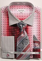 DE Mens Coral French Cuff Dress Shirt Bold Pattern Tie Set DS3786P2