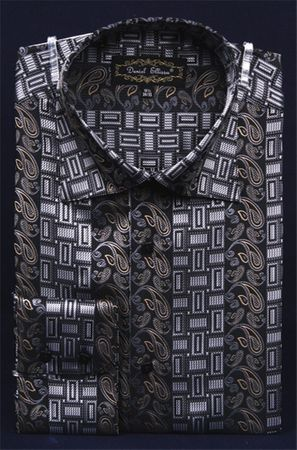 Mens High Collar Shirts DE Fancy Design FSS1404 Black