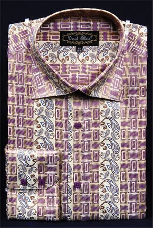 Mens High Collar Shirts DE Fancy Design  FSS1404 Butter - click to enlarge