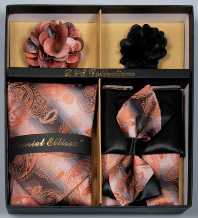 DE Mens Fancy Rust Paisley Bowtie Neck Tie Lapel Pin Gift Set DE-C109
