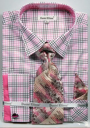 DE Mens Dress Shirts French Cuff Fuchsia Plaid Tie Set DS3781P2 - click to enlarge