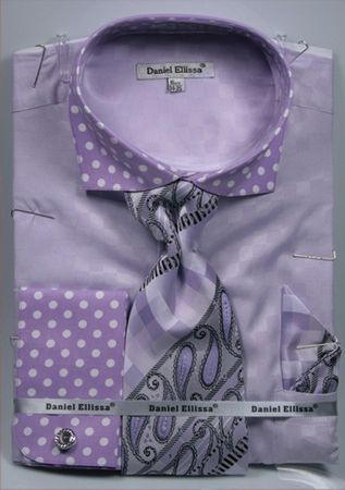 DE Mens French Cuff Dress Shirts Lavender Polka Dot Tie Combo DS3780P2 - click to enlarge