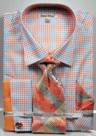 DE Mens French Cuff Dress Shirts Bold Peach Pattern Tie Set DS3781P2 - click to enlarge