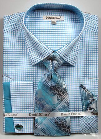 DE Men's French Cuff Dress Shirt Turquoise Loud Pattern Tie Set DS3781P2 - click to enlarge