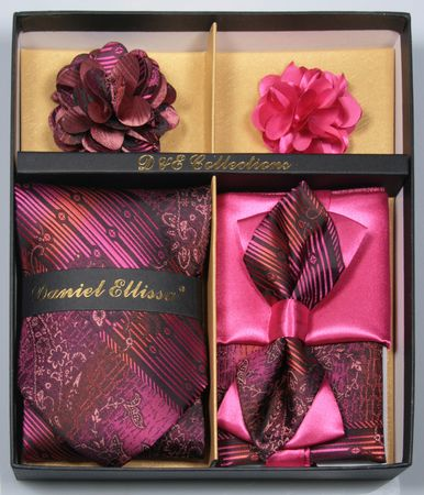 DE Mens Fuchsia Unique Bowtie Neck Tie Flower Pin Gift Set DE-C115