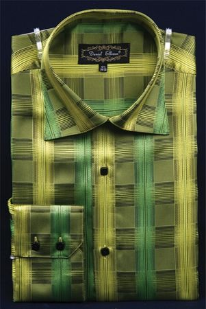 High Collar Club Shirt  Mens Green Cube Stripe Style DE FSS1403