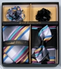 DE Mens Multi Stripe Bowtie Neck Tie Lapel Pin Gift Set DE-C111