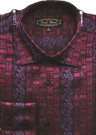 Mens High Collar Shirts DE Fancy Design FSS1404 Red