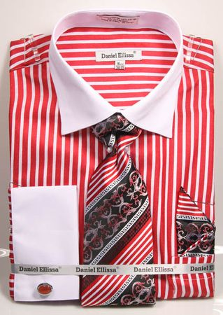 DE Mens French Cuff Red Candy Stripe Dress Shirt Tie Combo DS3787P2