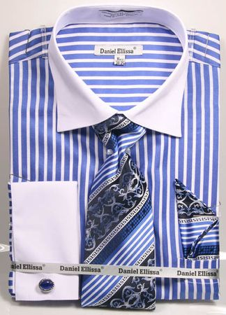 DE Mens Royal Verticle Stripe French Cuffed Dress Shirt Tie Set DS3787P2 - click to enlarge