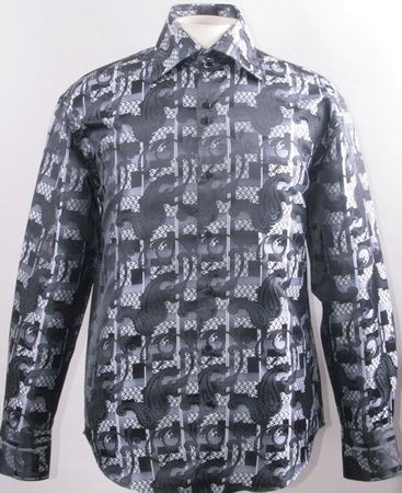 Mens Shiny Paisley High Collar Club Shirt Black FSS1423