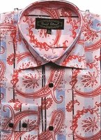 Mens High Collar Shirts DE Pink Fancy Shiny Paisley FSS1405
