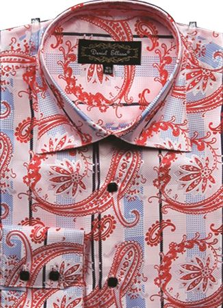 Mens High Collar Shirts DE Pink Fancy Shiny Paisley FSS1405 - click to enlarge