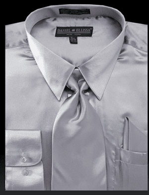 DE Mens Silver Silky Dress Shirts for Men 3012