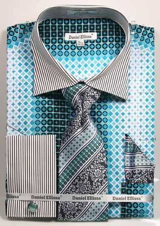DE Mens Teal Geo Style French Cuff Dress Shirt Tie Set DS3786P2
