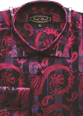 Mens High Collar Shirts DE Fuschia Fancy Shiny Paisley FSS1405 - click to enlarge