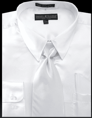 DE Mens White Silky Dress Shirts for Men 3012