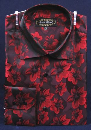 Mens High Collar Shirts DE Burgundy Shiny Floral Design FSS1402