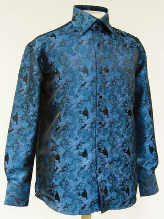 High Collar Club Shirt  Turquoise Shiny Floral Design Mens DE FSS1402 - click to enlarge