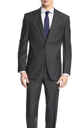 Demantie Men's Dark Gray Modern Fit Suit Flat Front Pants M202-13