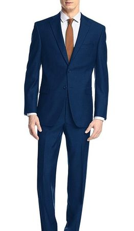 Demantie Men's Indigo Blue Modern Fit Suit Flat Front Pants M202-10 - click to enlarge