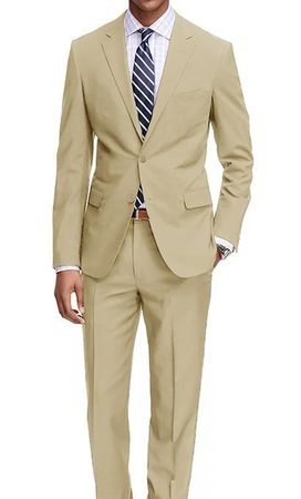 Demantie Men's Tan Modern Fit Suit Flat Front Pants M202-34 - click to enlarge