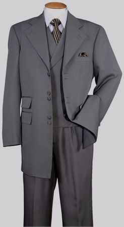 Zoot Suit 1940s Mens Style Grey Light Stripe Multi Button 3 Piece Milano 2917V - click to enlarge