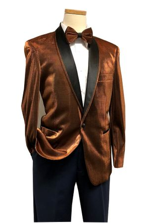 Dinner Jacket for Men Metallic Rust Bow Tie Blu Martini Park 5876 IS