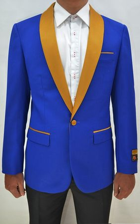Dinner Jacket Mens Royal/Gold Collar Blazer Alberto Dinner-Jacket