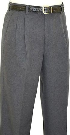 Domani Slacks Mens Solid Dark Grey Pleated  Wool Blend Dress Pants 55