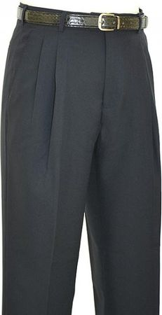Vinci Mens Black Pleated Dress Pants OP-900