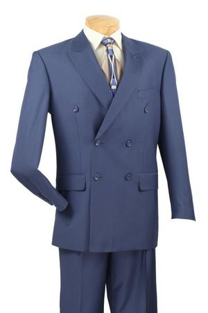 Double Breasted Blue Suit Pleated Pants Super 150s Vinci DC900-1