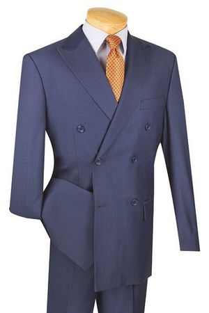 Men's Navy Double Breasted Suit Pleated Pants Wool Feel Vinci DC900-1 DC900-1 Size 44 Short Final Sale