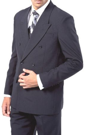 Double Breasted Suit Men's Navy Blue Pleated Pants Milano 901P