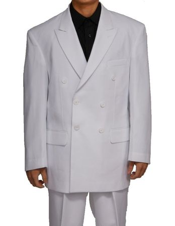 Double Breasted Suit Men's White Pleated Pants Milano 901P - click to enlarge