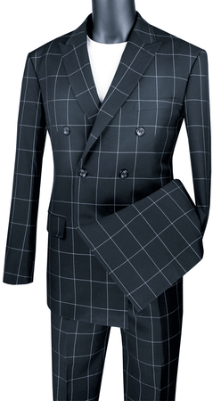 Double Breasted Suit Modern Fit Black Windowpane Vinci MDW-1