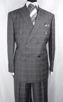 Double Breasted Suit Mens Gray Box Plaid Side Vents Vittorio C6401D