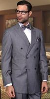 Double Breasted Men's Wool Suit Charcoal Pinstripe Alberto Nardoni DB-1