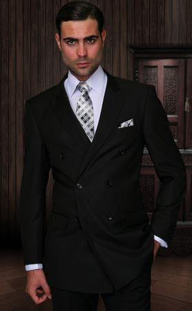 Double Breasted Men's Wool Suit Black Alberto Nardoni  DB-1 Solid - click to enlarge