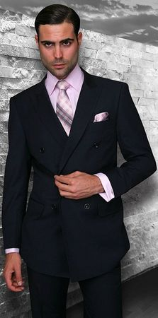Double Breasted Men's Wool Suit Navy Alberto Nardoni  DB-1