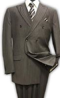 Mens Double Breasted Wool Suit Brown Alberto Nardoni DB-1 Pin
