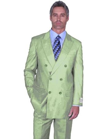 Double Breasted Wool Suit Men's Light Green 6 Button Alberto Nardoni DB-1