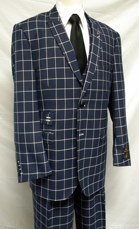EJ Samuel Navy Square Pattern 1920s Fashion Suit M2644 IS - click to enlarge 518e47402